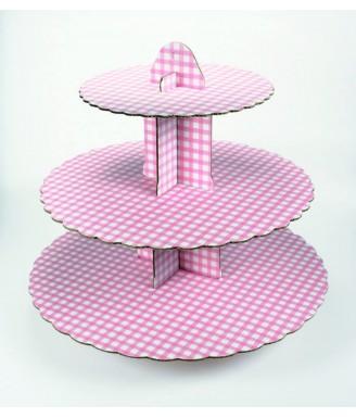 Rožinis languotas keksų stovas